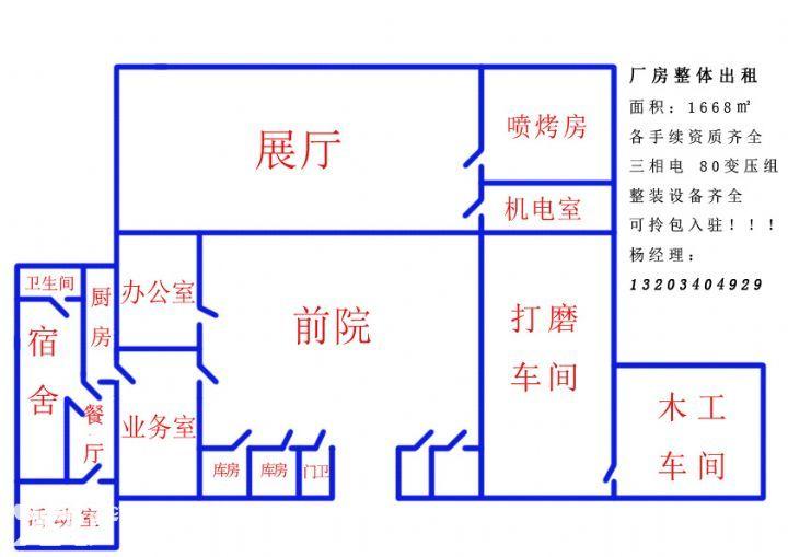 1668㎡厂房长久出租手续设备齐全急-图(1)